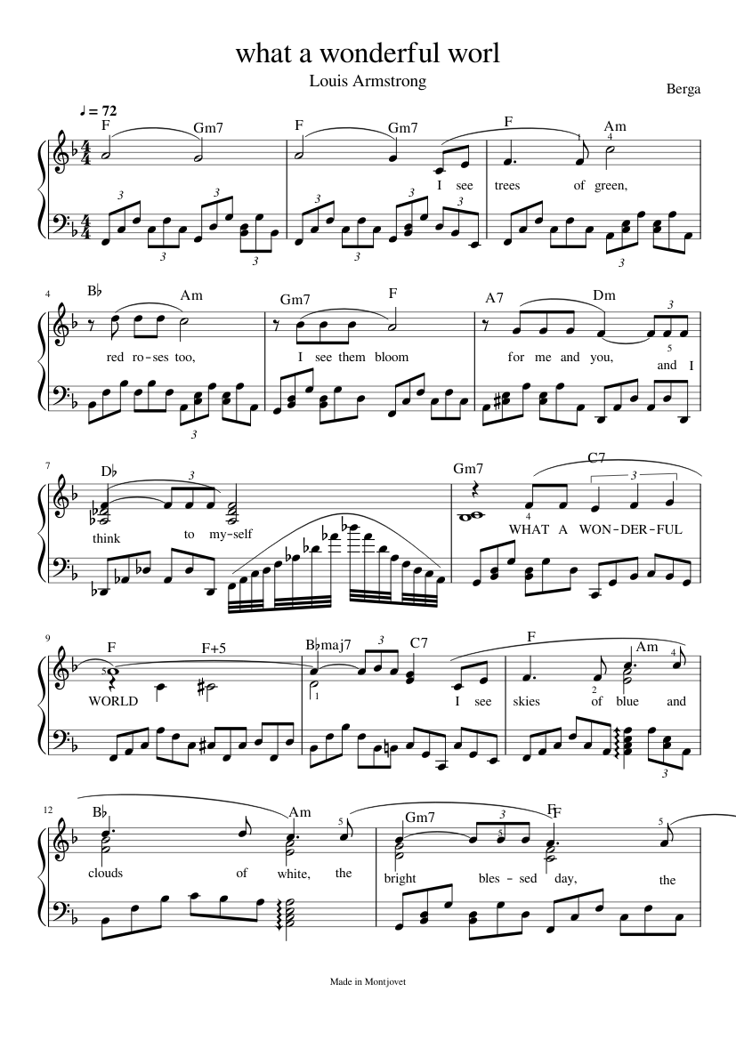 What a wonderful world scores sheet music for flute, clarinet.