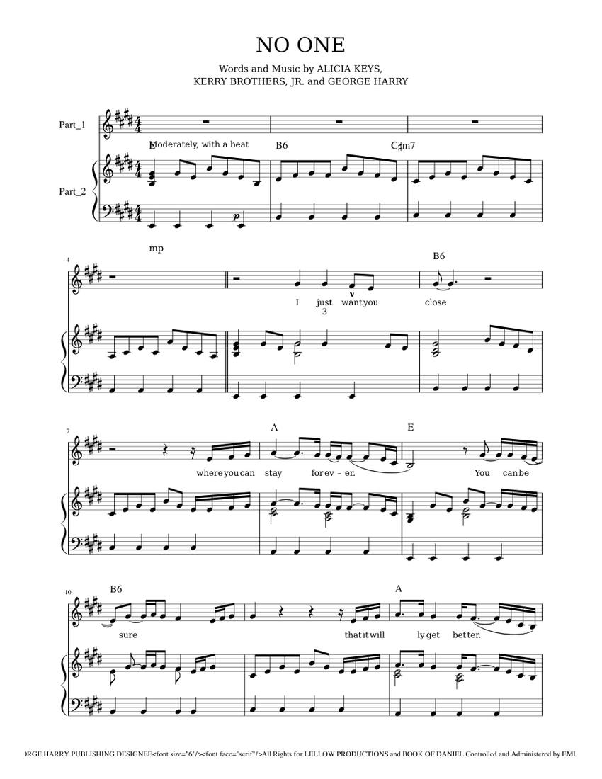 Alicia Keys No One Sheet music for Piano, Vocals Piano Voice ...