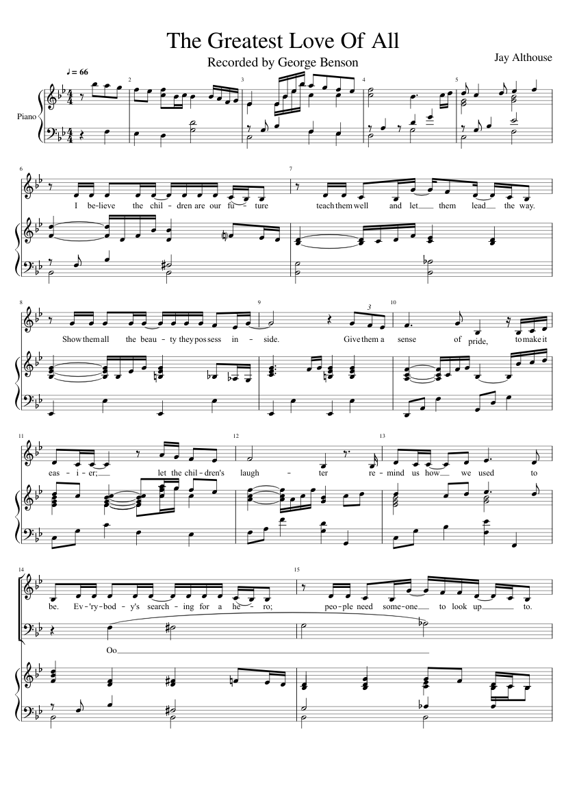 The greatest love of all sheet music for piano, voice download.