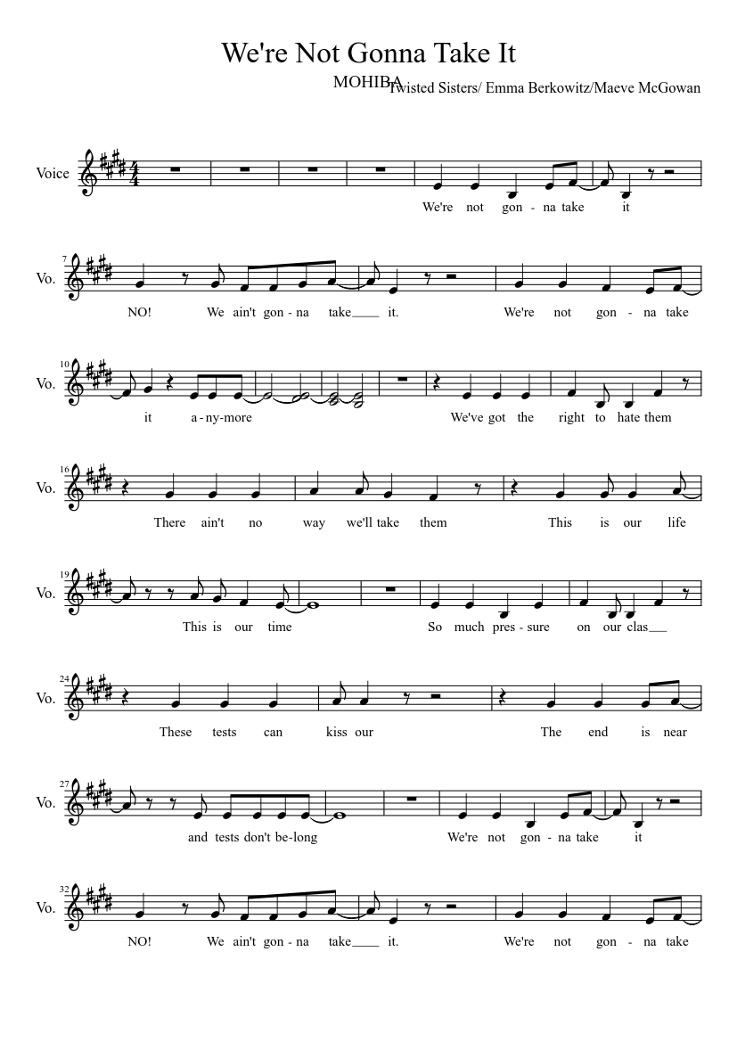 we're not gonna take it, junior act sheet music for voice (other) (solo) |  download and print in pdf or midi free sheet music with lyrics |  musescore.com  musescore.com