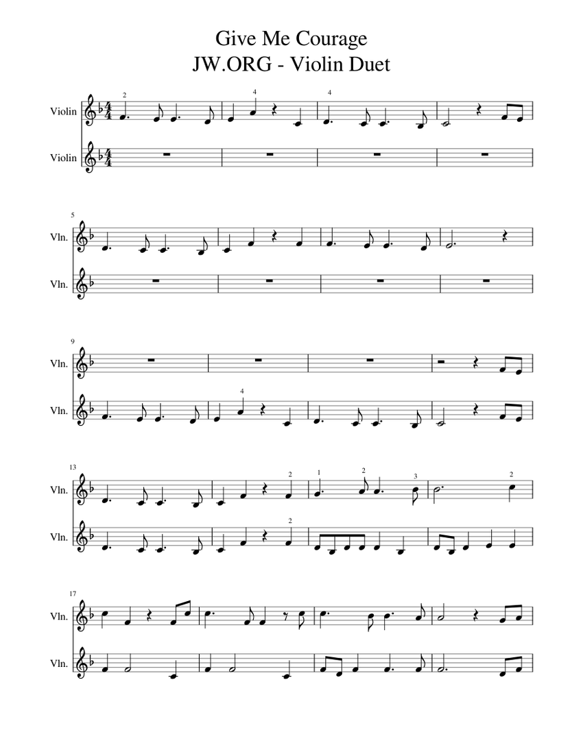 Give Me Courage Jw Org Violin Duet Sheet Music For Violin String Duet Musescore Com Jw broadcasting and sound recordings anywhere. give me courage jw org violin duet