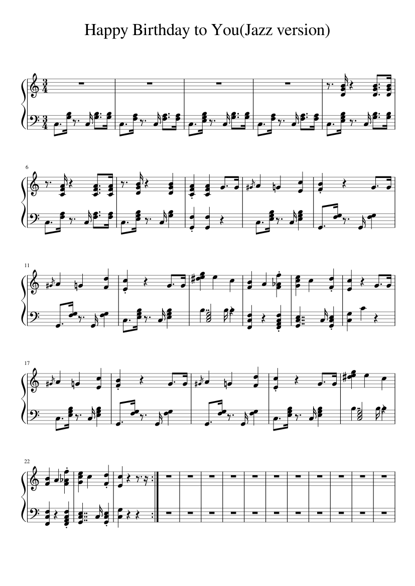 Happy Birthday to You(Jazz version) sheet music  – 1 of 2 pages