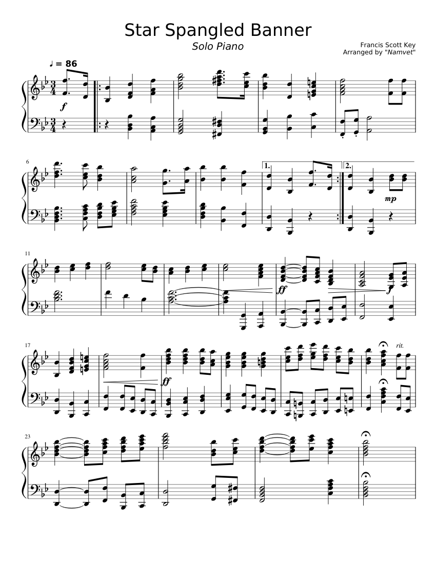 Star Spangled Banner For Solo Piano Sheet Music For Piano Solo Musescore Com