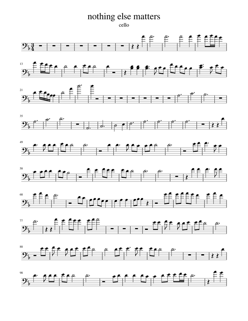 Nothing Else Matters Cello Arbre Sheet Music For Violin Solo Musescore Com