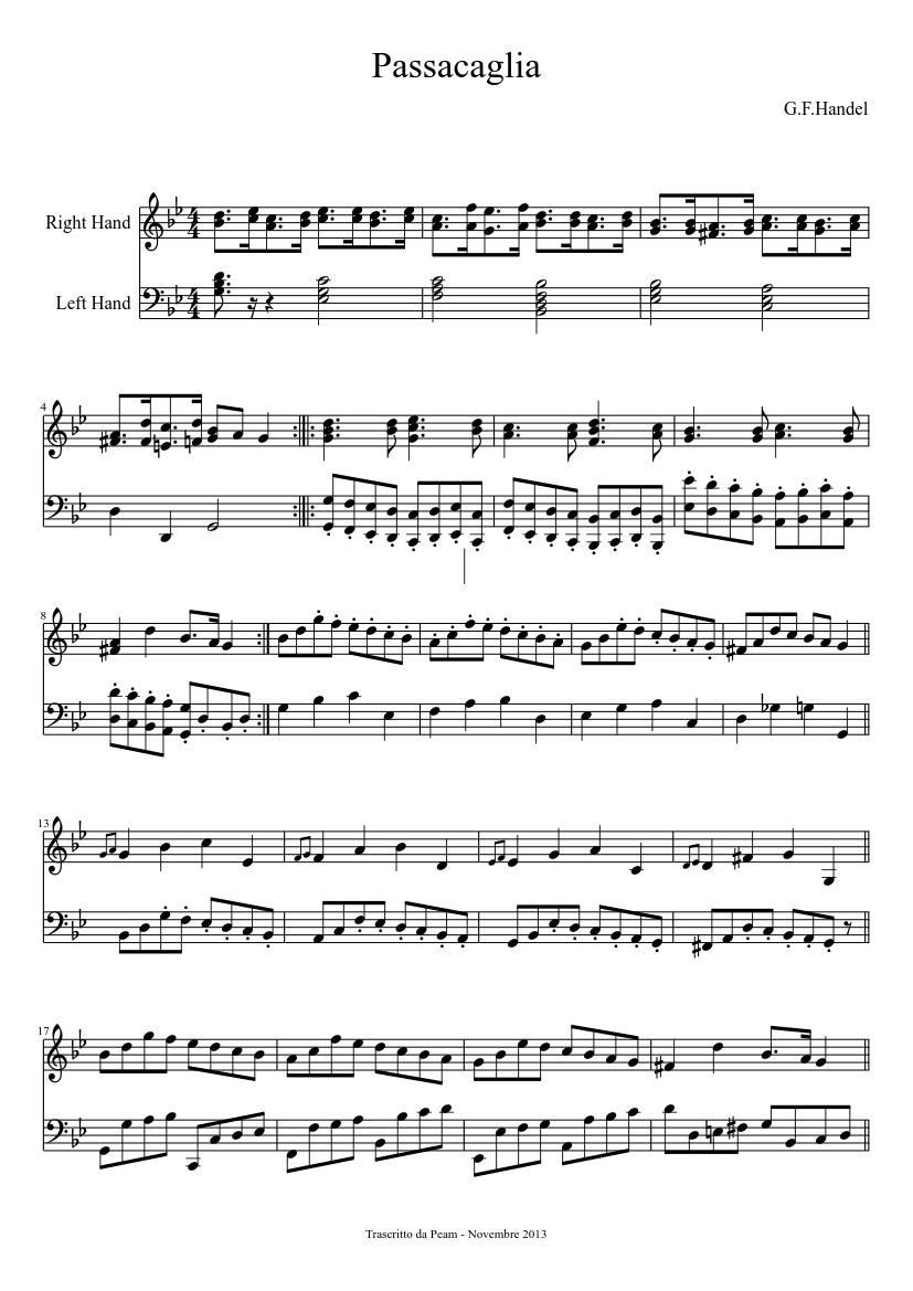 passacaglia - g.f handel sheet music for piano (piano duo) | musescore.com  musescore.com