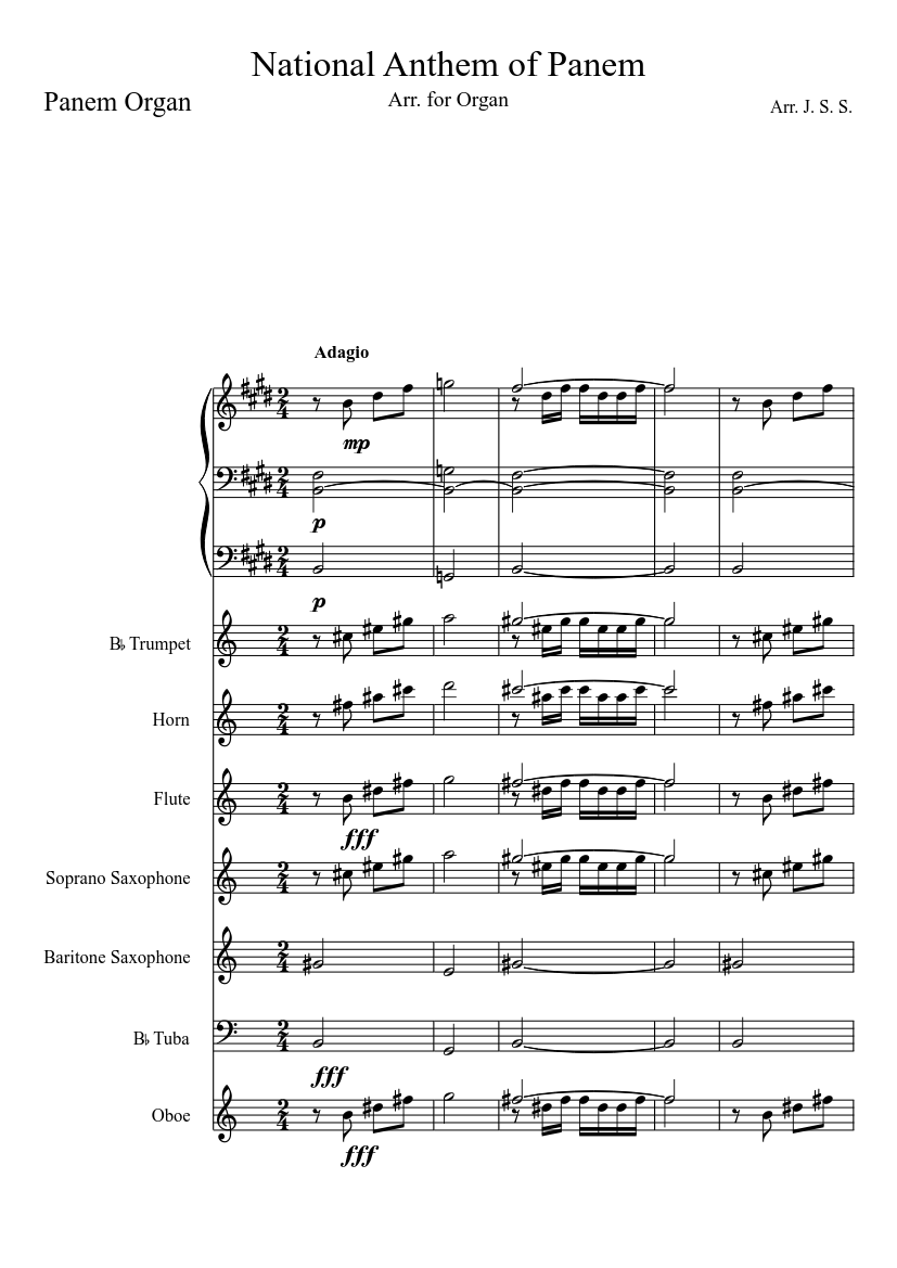 national anthem of panem with added instrumentals sheet music for