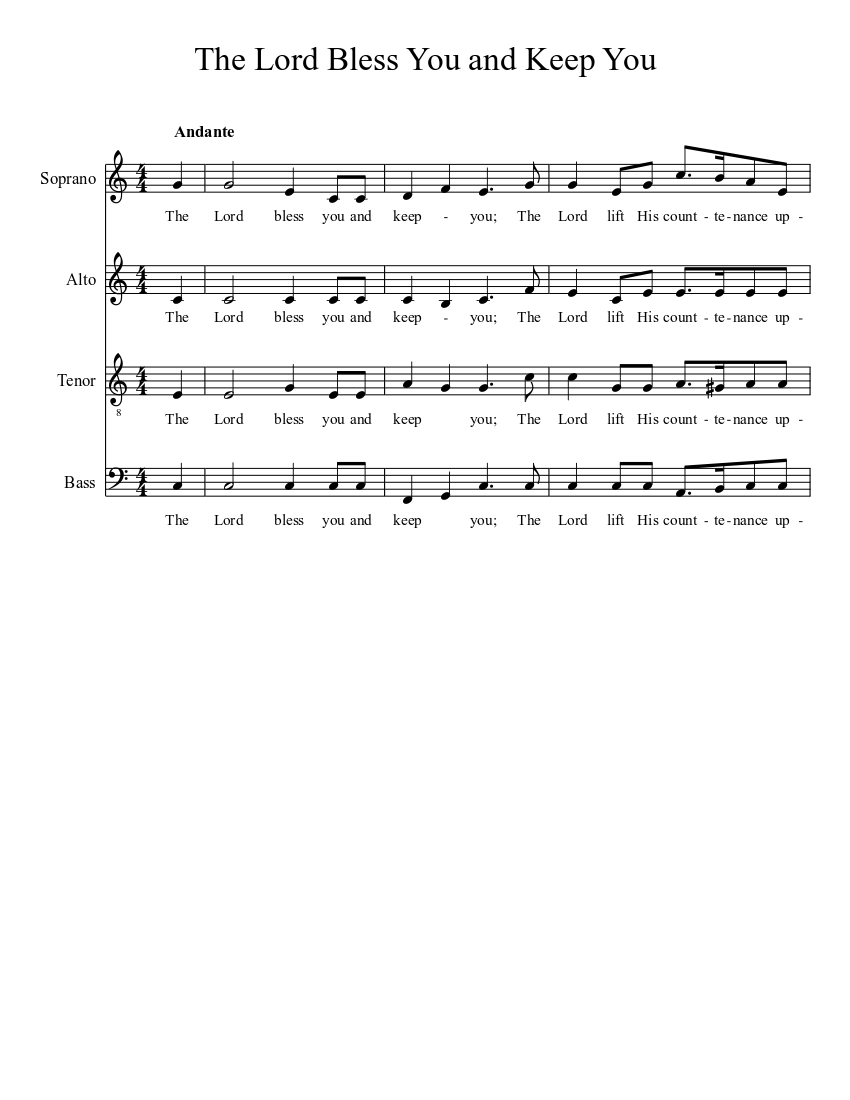 The Lord Bless You And Keep You Sheet Music For Bass Solo Musescore Com