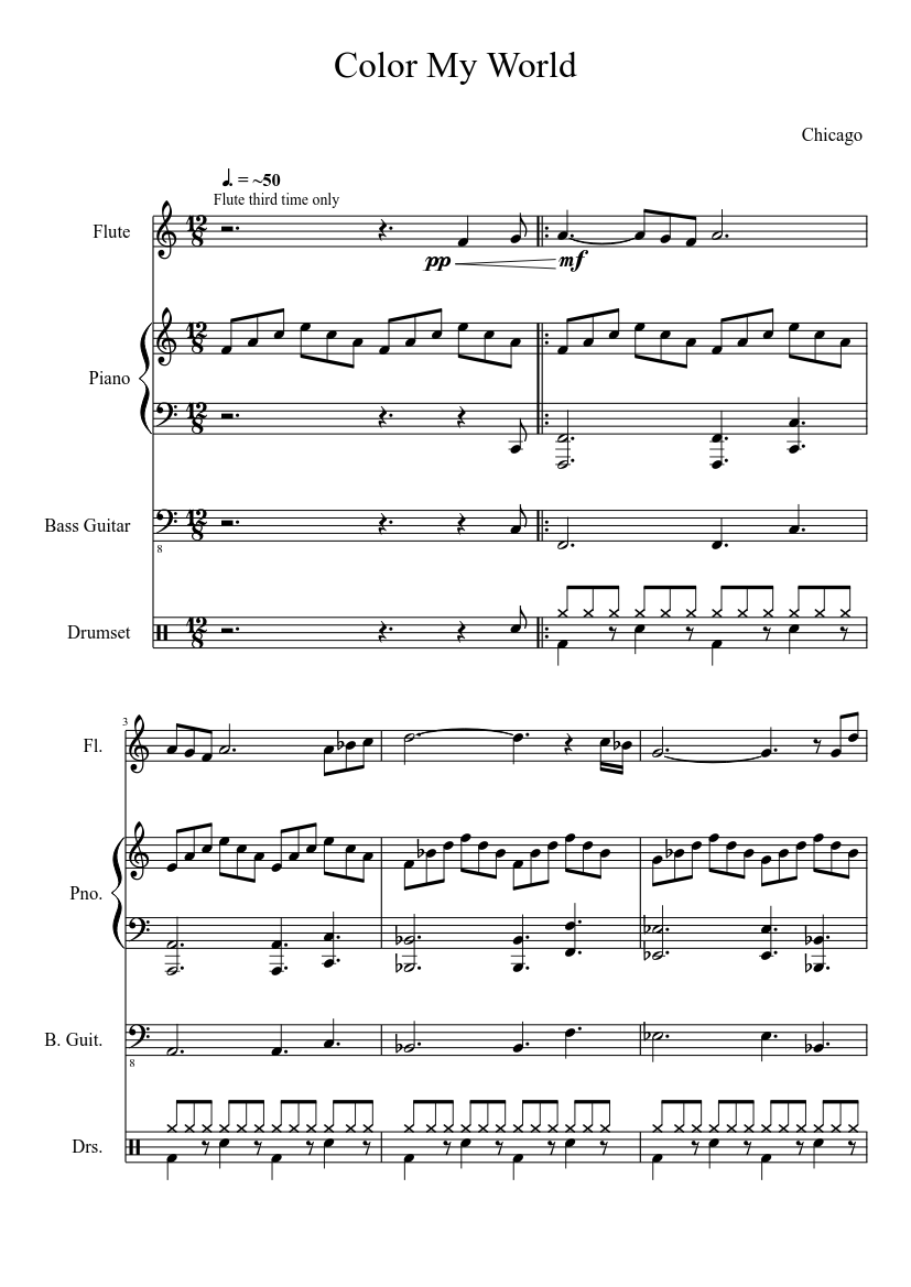 Color My World Sheet Music Free In Pdf Or Midi