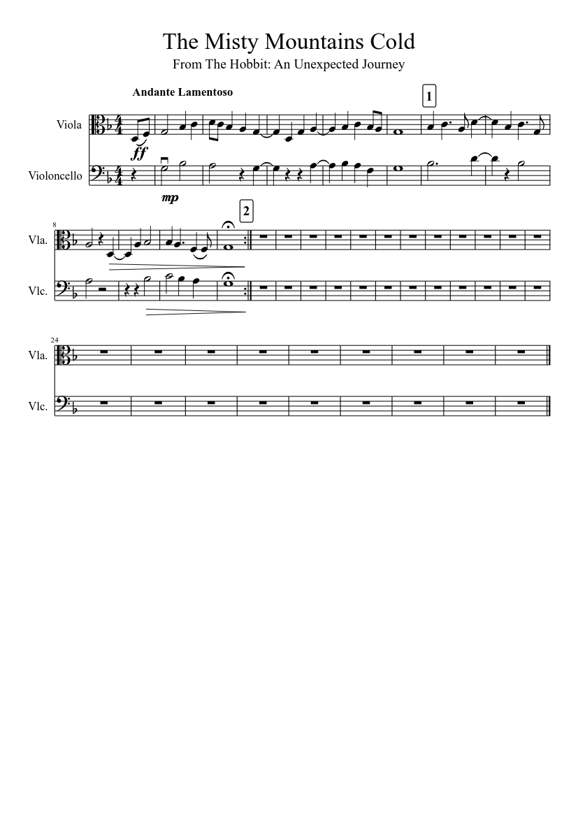 The Misty Mountains Cold sheet music download free in PDF or MIDI