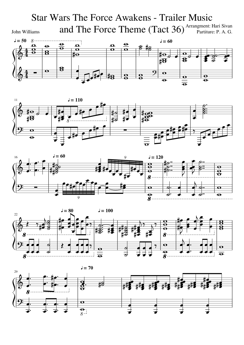 Star wars medley by player piano feat. Sonya belousova sheet music.