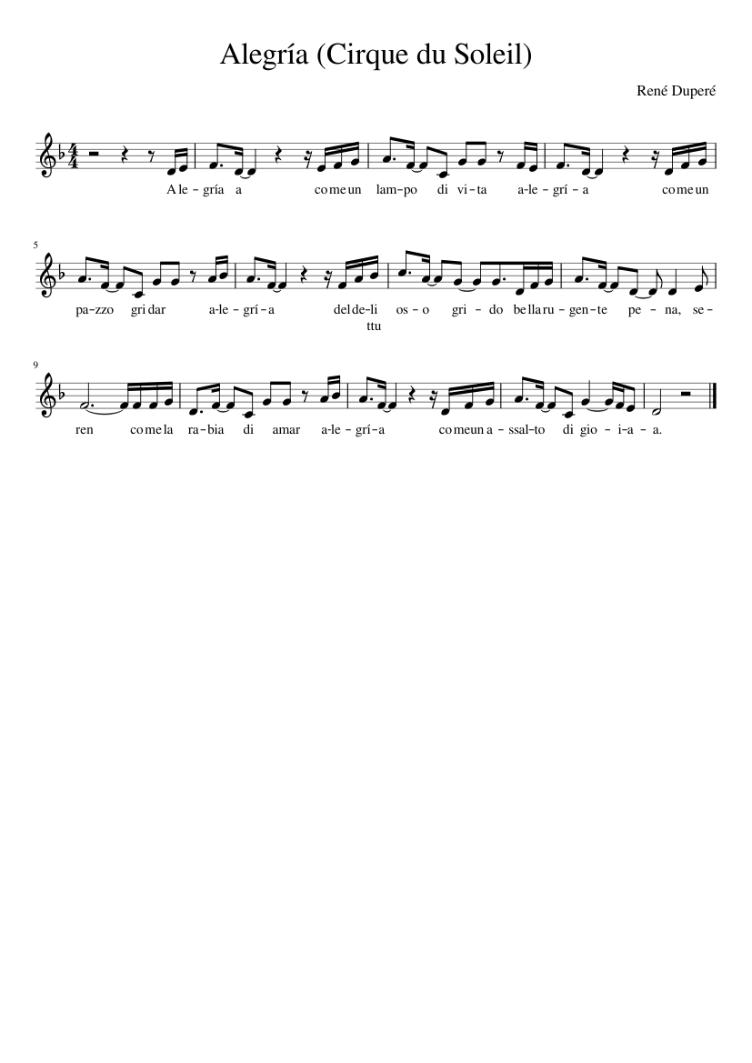 Alegría Cirque Du Soleil Sheet Music For Piano Solo Musescore Com