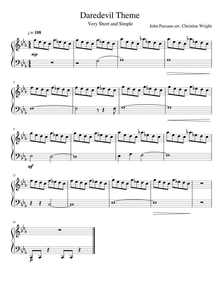 Daredevil Theme- Easy Piano sheet music for Piano download free in
