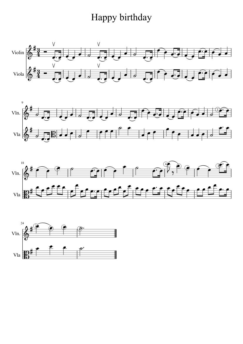 Happy Birthday Violin And Viola Sheet Music For Violin Viola String Duet Musescore Com