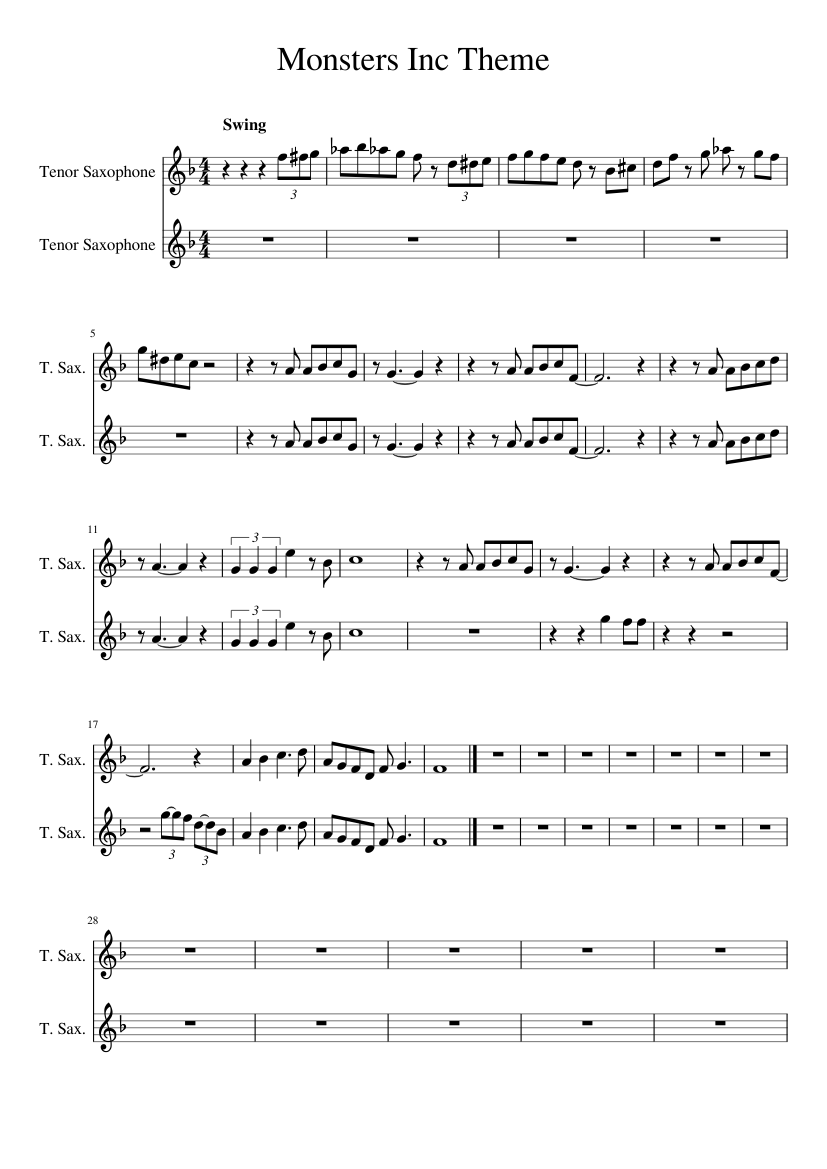 Monster S Inc Theme For Tenor Saxes Sheet Music For Saxophone Tenor Woodwind Duet Musescore Com
