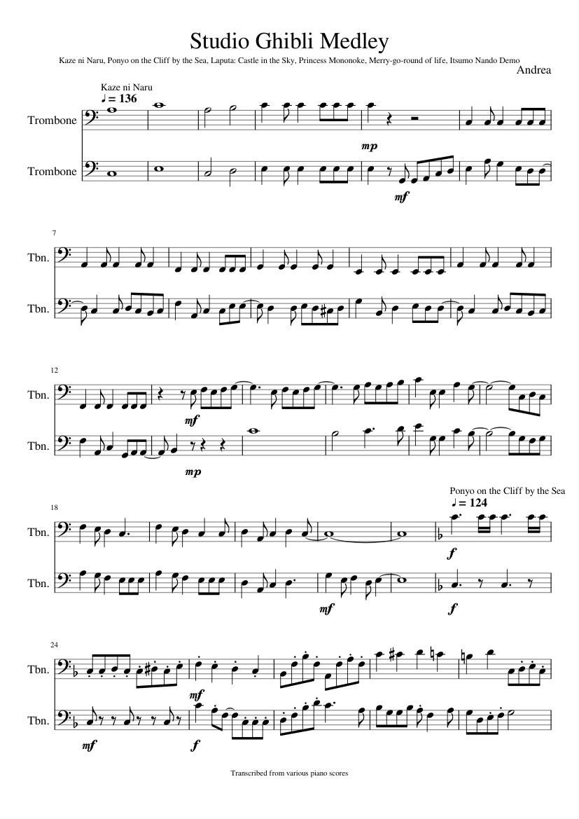 Studio ghibli music sheet download.