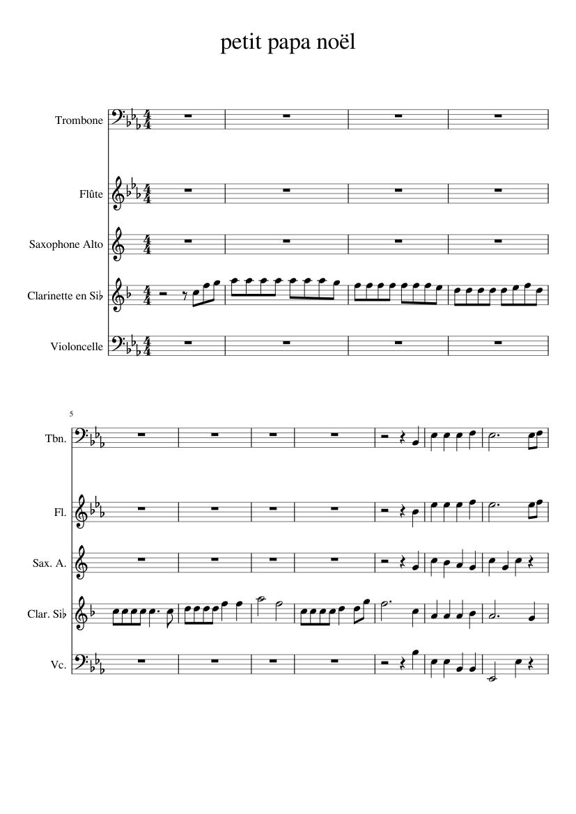 Petit Papa Noël Sheet Music For Flute Clarinet Trombone Alto