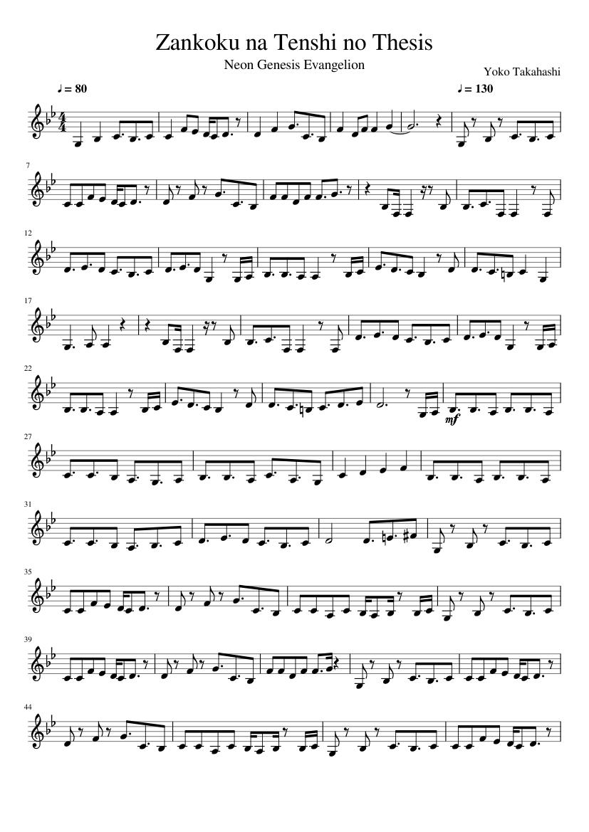 zankoku na tenshi no thesis piano sheet