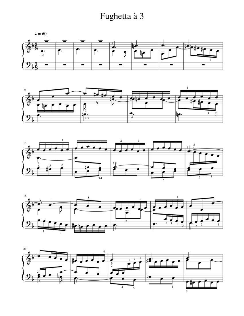 fughetta à 3 bwv 899 sheet music for piano (solo)   download and print in  pdf or midi free sheet music for prelude and fughetta in d minor, bwv 899  by johann  musescore.com