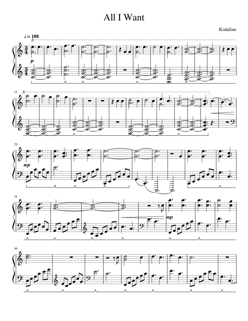 All I Want Sheet music for Piano Solo   Musescore.com