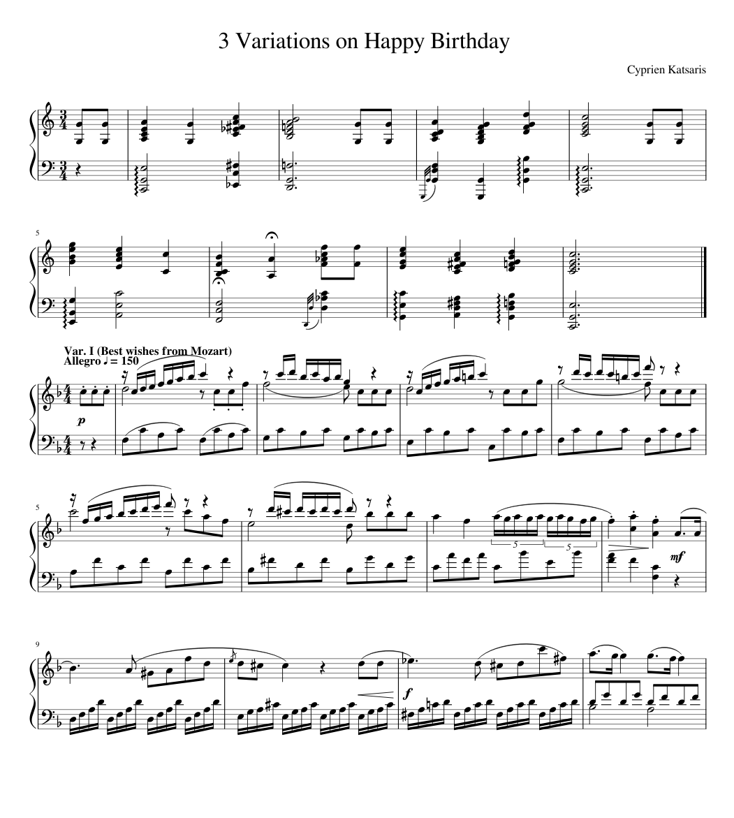 3 Variations On Happy Birthday Sheet Music For Piano