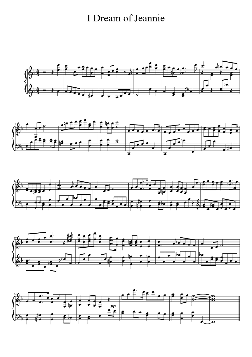 """Jeannie"""" from 'i dream of jeannie' sheet music (leadsheet) in c."""