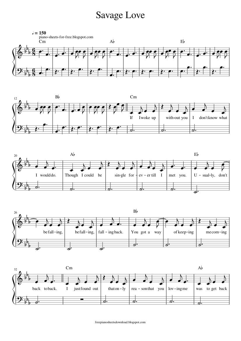Jason Derulo Savage Love piano sheets