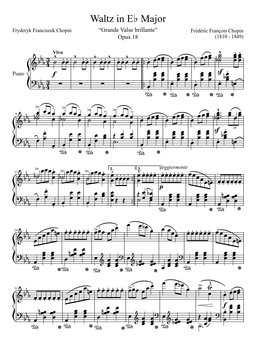 Grande Valse Brillante, Op. 18 by Frédéric Chopin sheet music arranged by ClassicMan for Solo – 1 of 9 pages
