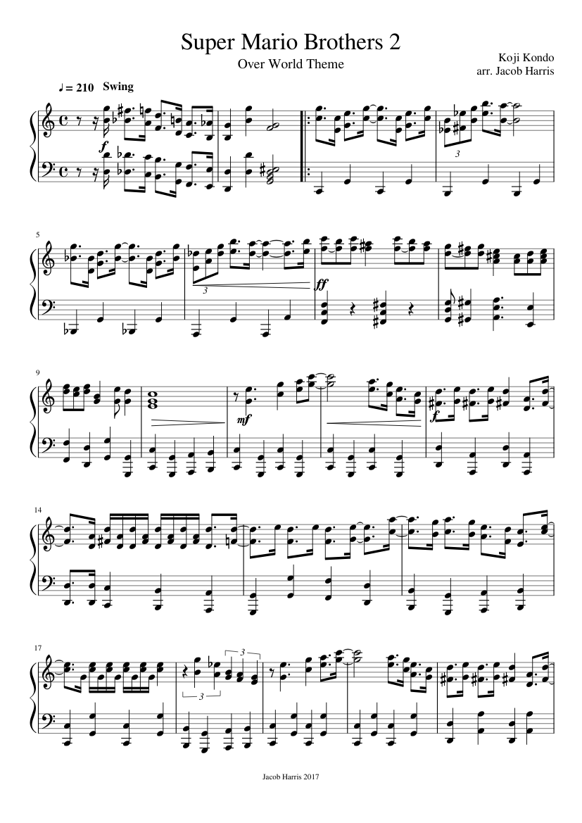 Super Mario Brothers 2 - Overworld Theme sheet music for Piano