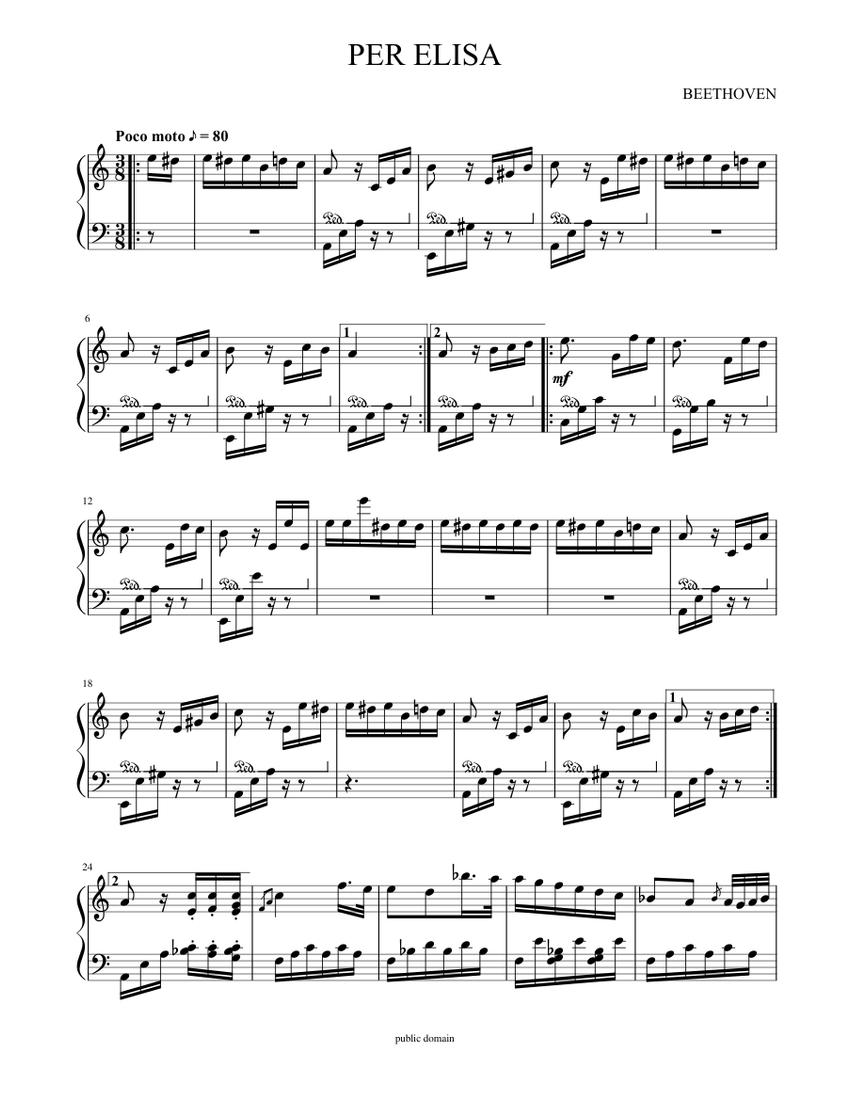 Per Elisa Sheet Music For Piano Solo Musescore Com