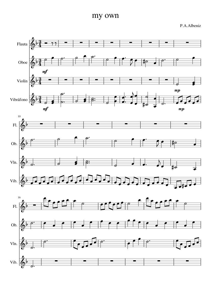 jungle book sheet music for Flute, Violin, Oboe, Percussion