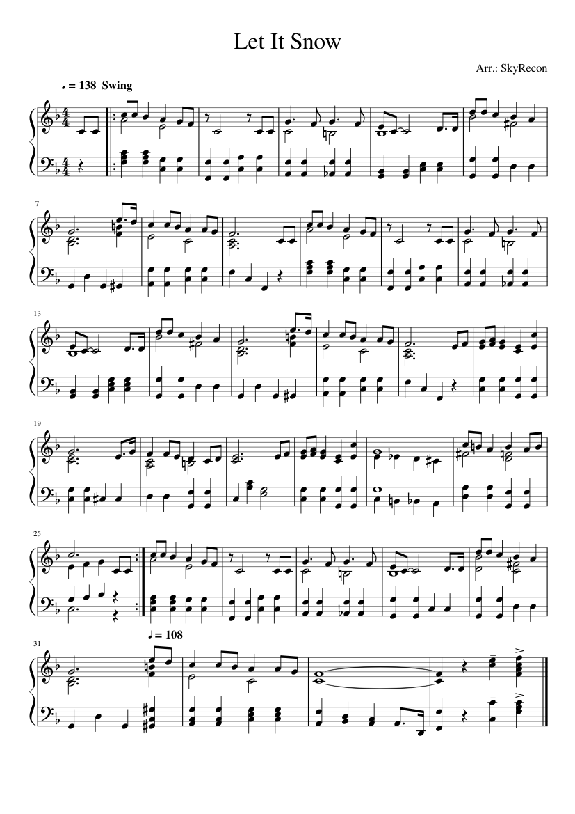 let it snow piano sheet music free