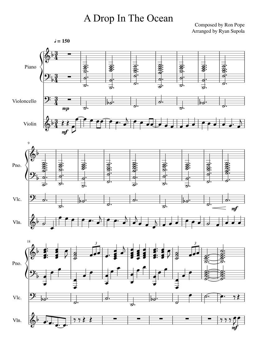 A drop in the ocean sheet music for piano, voice download free in.