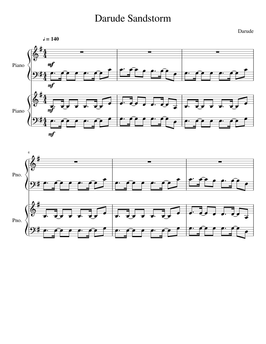 Darude Sandstorm Sheet Music For Piano Download Free In Pdf Or Midi