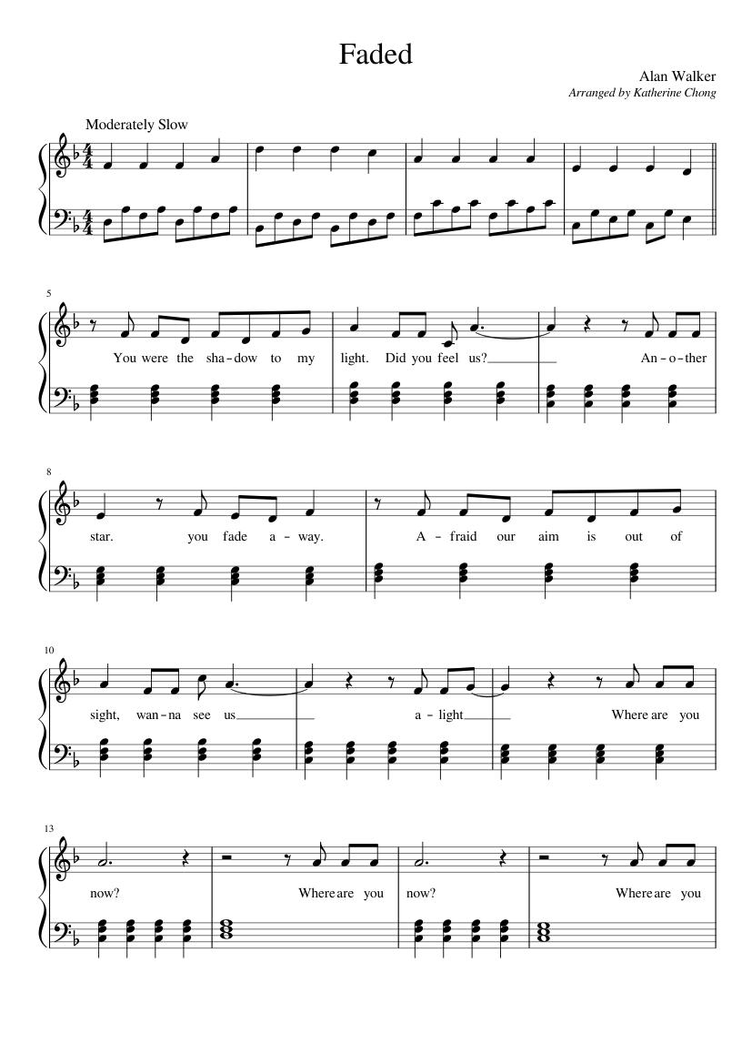 Piano Sheet Music Alan Walker Faded Easy Piano Sheet Music