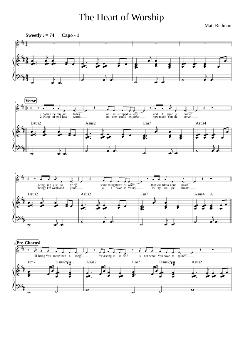 The Heart of Worship Sheet music for Piano, Vocals Piano Voice ...