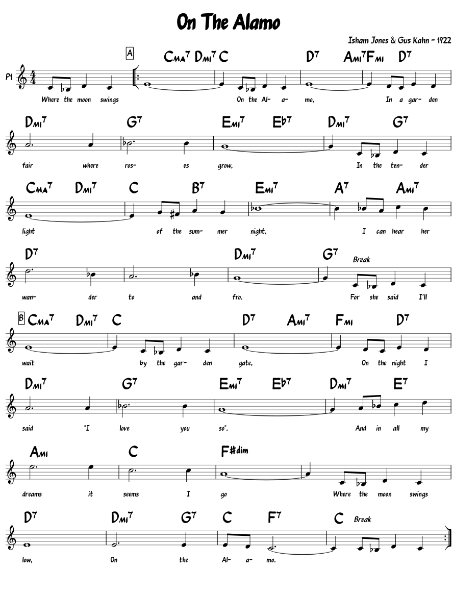 On The Alamo Sheet Music Composed By Isham Jones Gus Kahn 1922 1