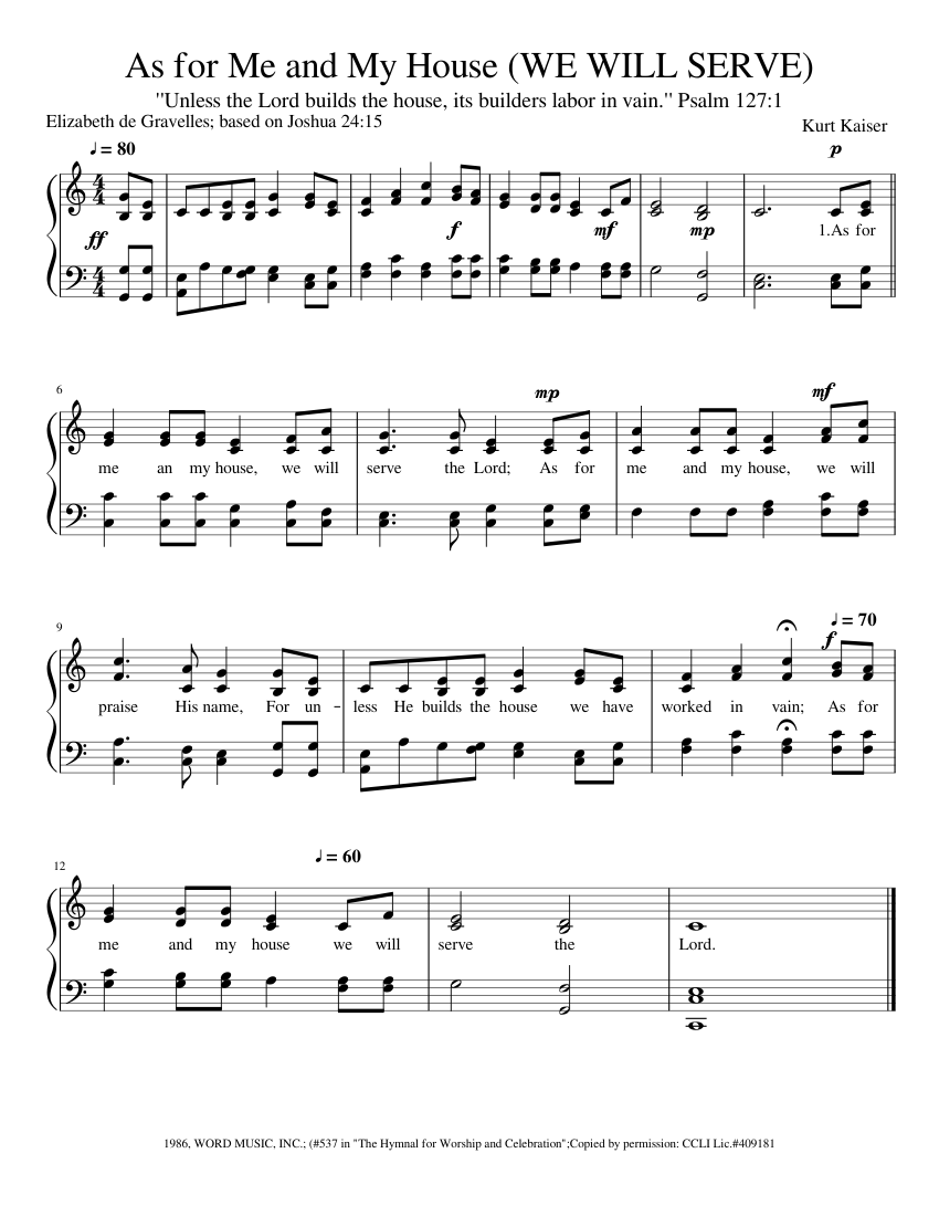 as for me and my house (we will serve) sheet music for piano (solo)    musescore.com  musescore.com