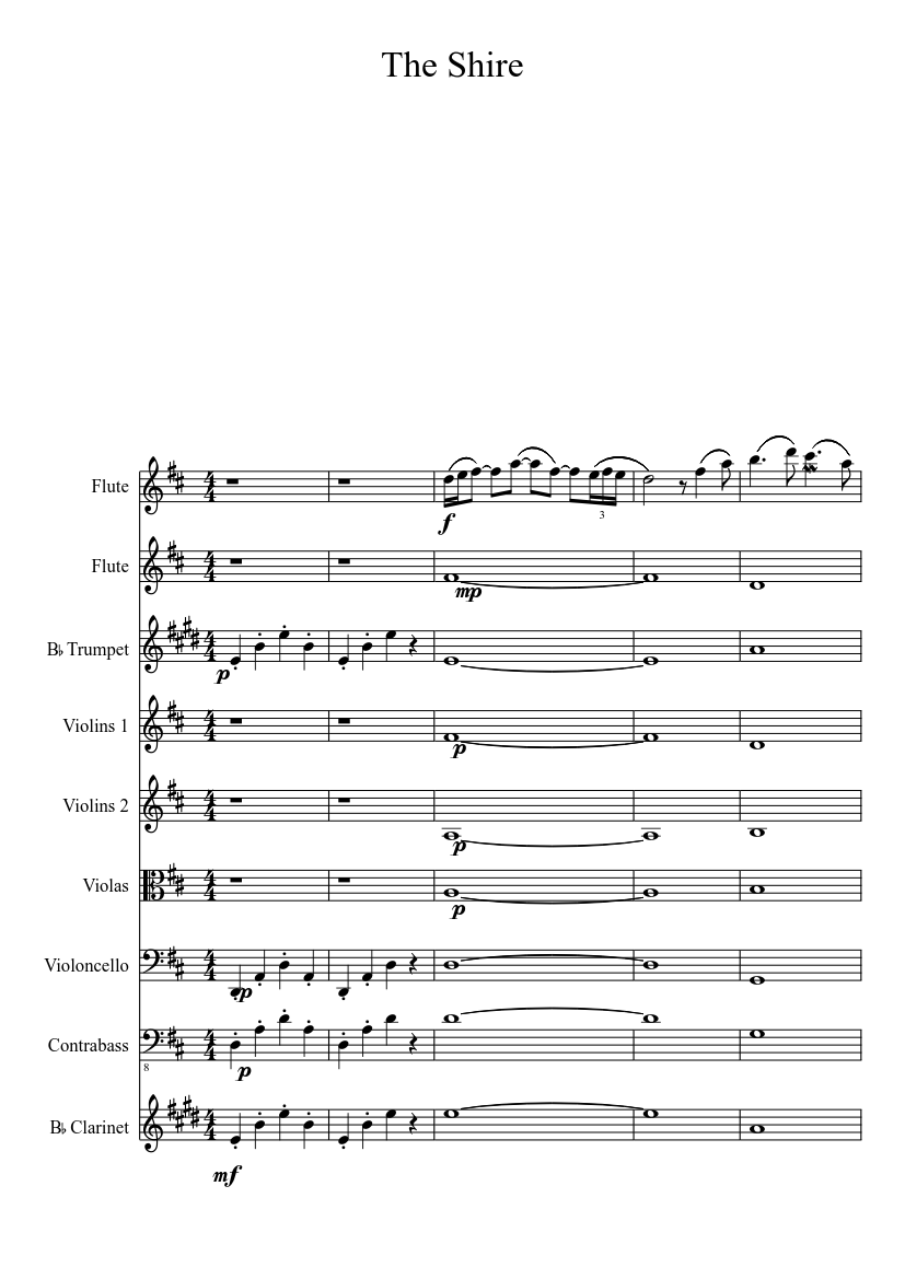 Music Sheet Lord Of The Rings The Shire Sheet Music