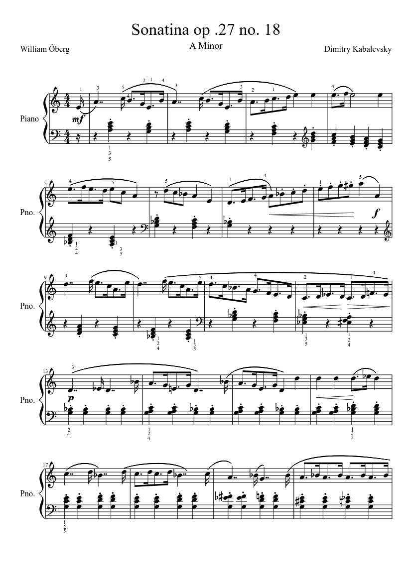 2c5c4b602b5f4f Sonatina op .27 no. 18 sheet music for Piano download free in PDF or ...