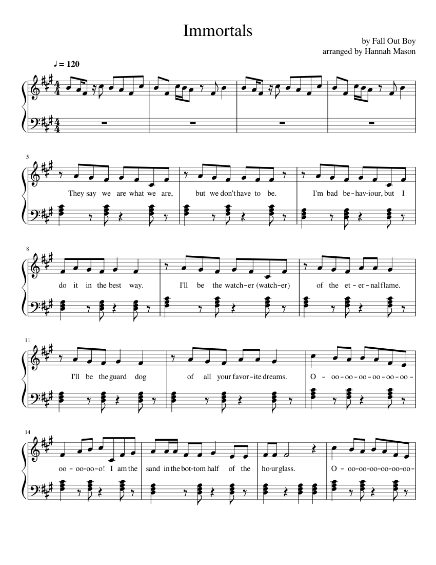 Immortals Fall Out Boy Sheet Music For Piano Download Free In Pdf