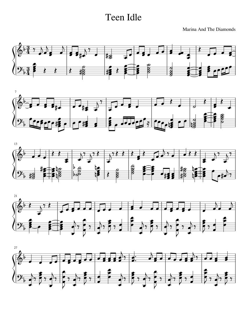 Teen Idle Sheet music for Piano Solo   Musescore.com