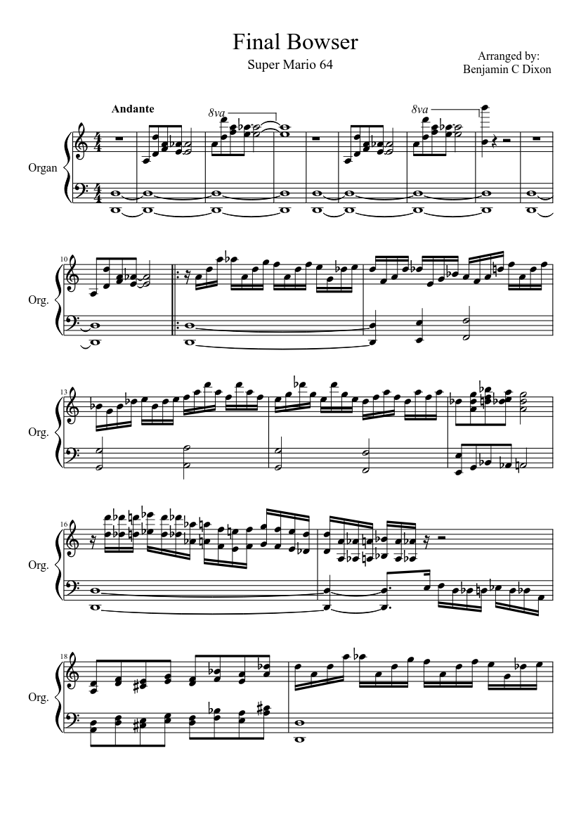 Final Bowser sheet music download free in PDF or MIDI