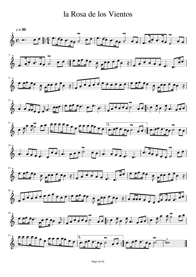 La Rosa De Los Vientos Sheet Music For Recorder Solo Musescore Com