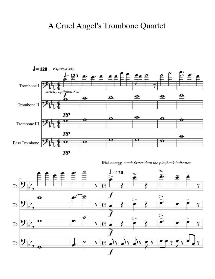 cruel angels thesis trombone sheet music