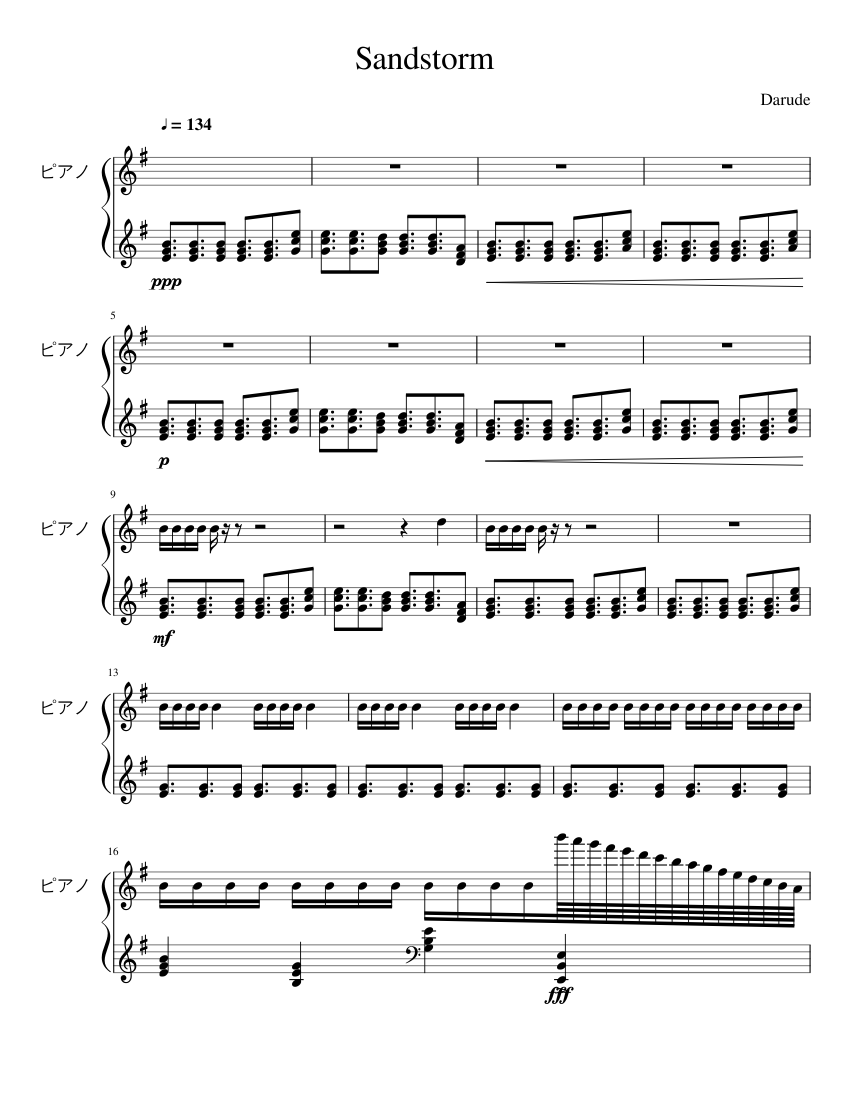 Darude Sandstorm Piano Sheet Music For Piano Download Free In Pdf