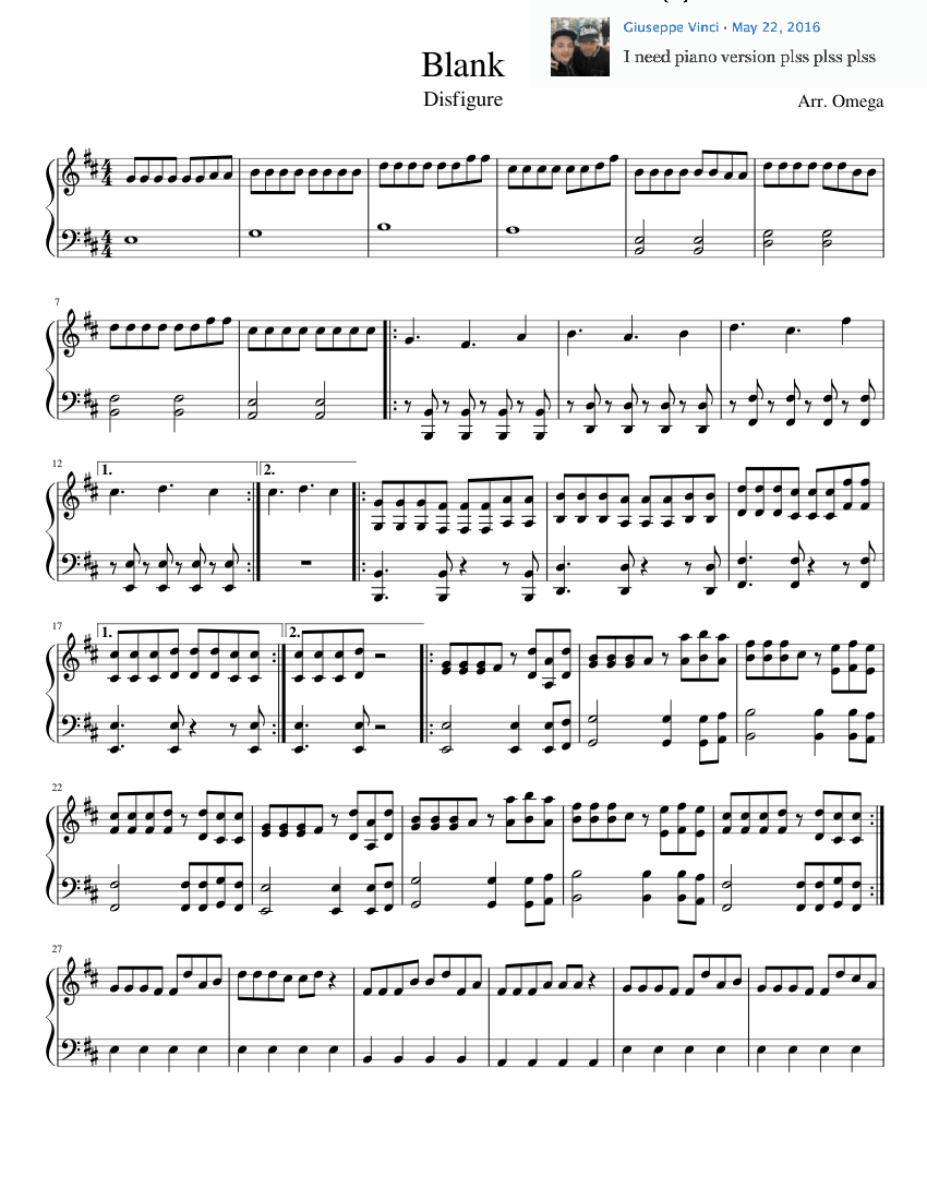 Blank Sheet Music Composed By Arr Omega 1 Of 2 Pages