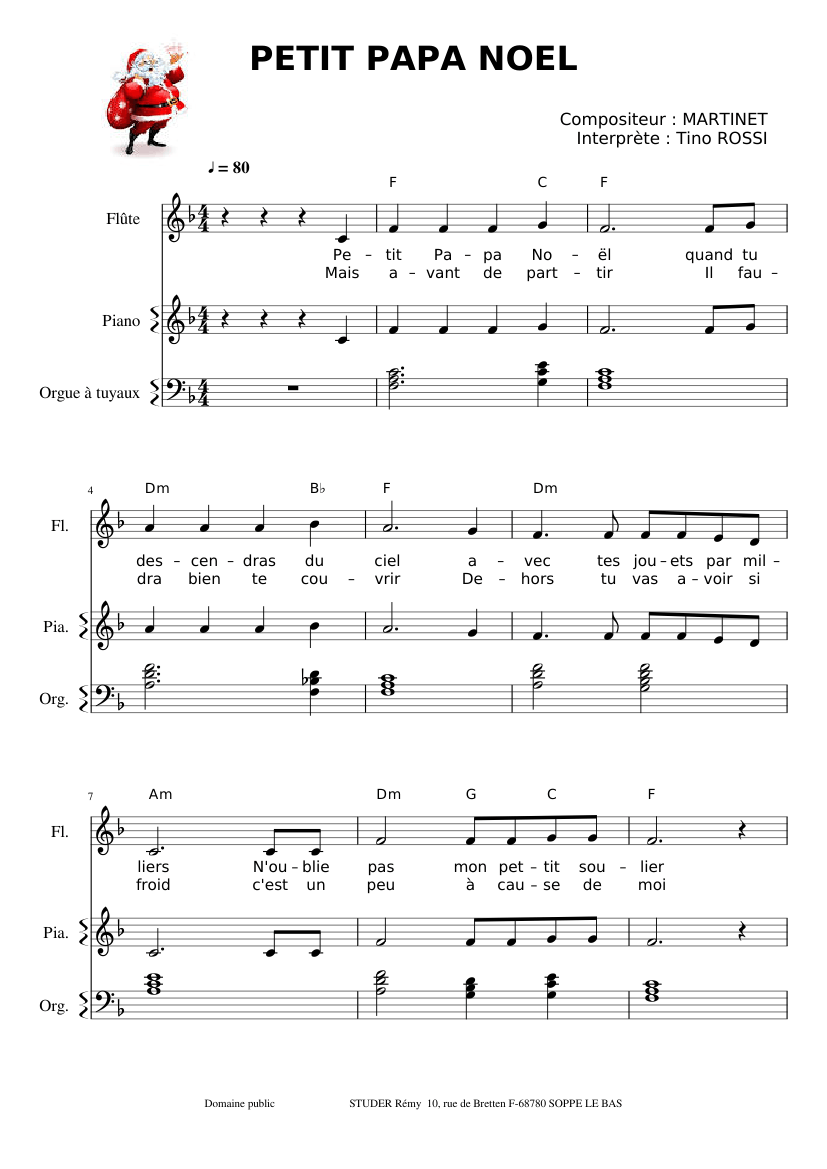 Petit Papa Noel Sheet Music For Flute Piano Download Free In Pdf Or