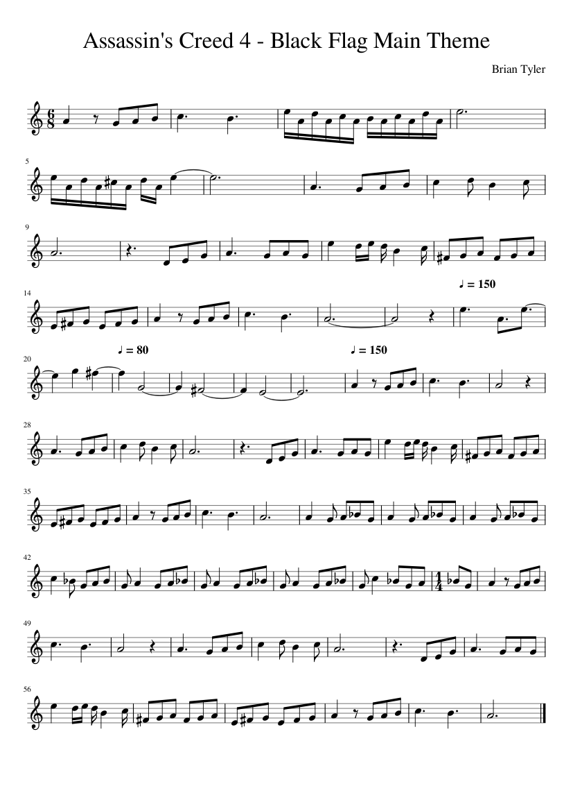 Assassin's Creed 4-Black Flag - Main Theme - Solo Violin sheet music