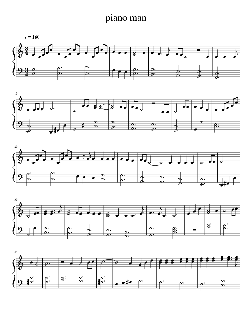 piano man sheet music  – 1 of 2 pages