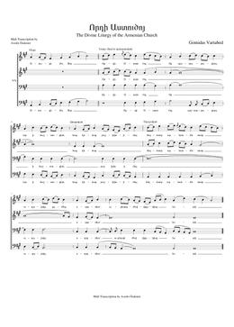 Որդի Աստուծոյ - Vorti Asduzdo sheet music arranged by Avedis Özdemir for Choral